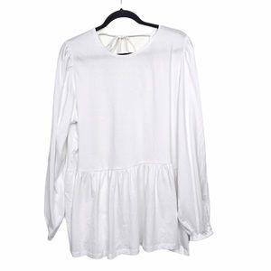 ASOS Curve White Open Back Long Sleeve Blouse